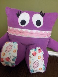 Purple Tea Party PAJAMA EATER Monster  Ready to by TheSeedsof3, $25.00