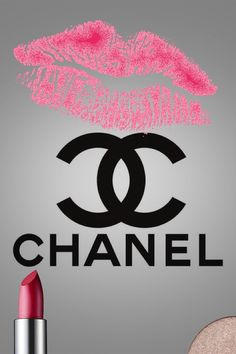 Chanel logo,pink lipstick,lips