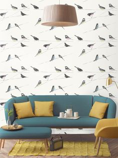 Classic bird wallpaper featuring British birds on telegraph wires.