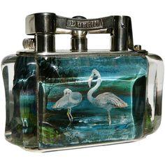 Alfred Dunhill 'Flamingo' Aquarium table lighter.  England.  Circa 1950s.