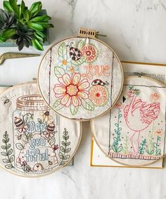 Fill your space with charming do-it-yourself projects like this embroidery kit that features printed stabilizers requiring no tracing.Includes three sheets and stitch instructionsWash-away stabilizerAssembled in the USA using imported materials Embroidery Applique, Cross Stitch Embroidery, Towel Embroidery, Fairy Jars, Easy Paper Crafts, Diy Clothes, Sewing Clothes, Needlework, Coin Purse