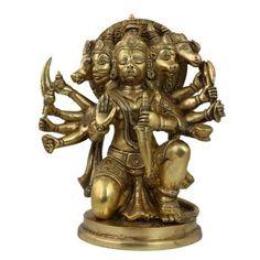 Amazon.com: Hanuman Statue Sculpture Art Hindu Idol Figurine; Brass; 7.5 X 5 X 8.75 Inches: Furniture & Decor