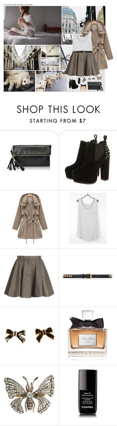 """In Love With The Place In My Mind..."" by allweknowisfalling ❤ liked on Polyvore featuring Prada, PATH, Yves Saint Laurent, Christian Dior, Chanel, Adia Kibur, ankle boots, studded belts, studded boots and bow earrings"