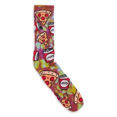 Vans Trippy Pizza Crew 1 Pack ($15) ❤ liked on Polyvore featuring intimates, hosiery, socks, tie dye, tie dye crew socks, crew cut socks, crew socks, tye dye socks and tie dye socks