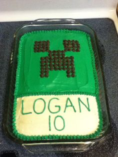 Super simple Minecraft cake I made for my nephew's birthday...