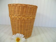 Vintage Natural Woven Wicker LightWeight Bin  by DivineOrders, $11.00