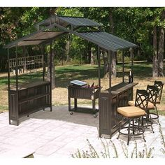 New Large Steel Frame Grill Gazebo Outdoor Bar Vented Hard Top Roof 8 Grill Canopy, Grill Gazebo, Patio Gazebo, Outdoor Kitchen Countertops, Cheap Countertops, Concrete Countertops, Outdoor Kitchens, Cement Counter, Laminate Counter