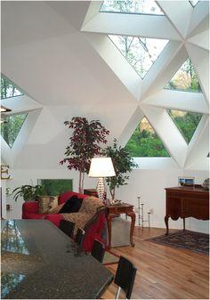 interior view geodesic dome triangle windows