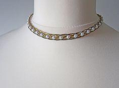Vintage faux Pearl Gold-tone Choker Necklace / Choker / by Aquiris