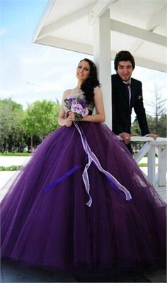 Romantic Sweetheart Purple Wedding Dresses With Bling Beaded Top Ball Gown…
