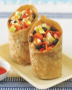 Superfast and satisfying, this bean and rice wrap is one of our favorites. It's also great for a make-your-own-burrito night with the kids. Just put all the ingredients in little bowls and let them get creative with toppings like chicken and rice. Click here to see How Carbs Can Help You Lose Weight.