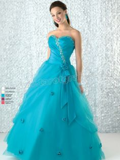 Turquoise Ball Gown Strapless Sweetheart Zipper Full Length Quinceanera Dress With Beading Appliques and Ruffles