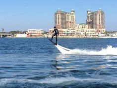 Did you know you can have a hoverboard experience in the Destin Harbor?  Marty McFly would love #EmeraldCoasting.  Photo by Richard Olivarez.  http://www.emeraldcoastfl.com/things-to-do/outdoor-activities/boat-ramps-marinas.aspx