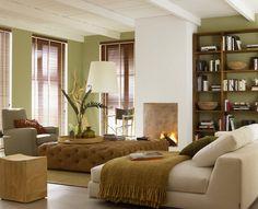 schlafzimmer in grünen farbtöne wandgestaltung   farbkonzept ... - Schlafzimmer Grun Beige