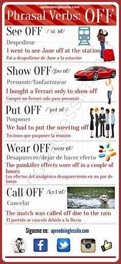Phrasal verbs whith OFF English Vinglish, English Verbs, Learn English Grammar, English Course, English Tips, English Phrases, Learn English Words, English Language Learning, English Study