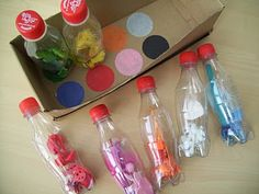 Make your own sensory game. They can match colours, smells and even sounds! I have done these a few times. Smells are the most fun! 色あわせ、におい合せ、音合わせなどの、センサリーマッチングゲーム