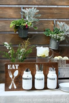 DIY Utensil Holder! This would be great for outdoor entertaining, or hang it on a wall in the kitchen.
