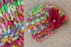 Colorful Beanie with Flower