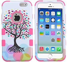 """myLife Multi-colored and White {Bright Colored Fashionable Tree Design} Neo Hybrid Armor Case for the NEW iPhone 6 (6G) 6th Generation Phone by Apple, 4.7"""" Screen Version (Two External Snap On Hard Protector Plates + Full Body Internal Soft Silicone Bumper Gel Protection) myLife Brand Products http://www.amazon.com/dp/B00NI4SKXY/ref=cm_sw_r_pi_dp_sMepub12F7DD2"""