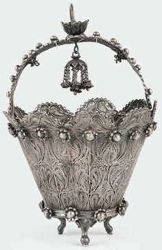 Filigrana de prata cesta tratada, a América Latina do século 19