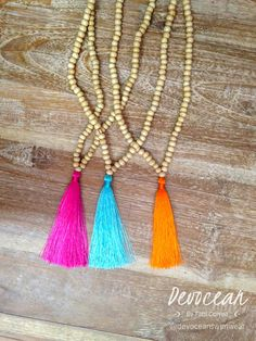 Wood Beaded tassel necklace - Gypsy necklace - Bohemian necklace