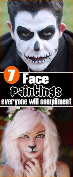 7 Face Paintings.  Celebrate Halloween with sweet, silly or scary face paint.  Face painting ideas for adults and children.