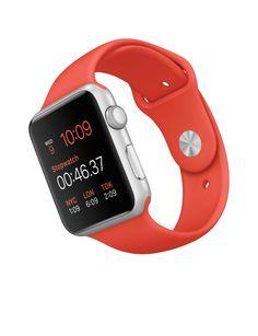 Apple Watch Sport – Caixa de 42 mm prateada de alumínio com pulseira desportiva laranja