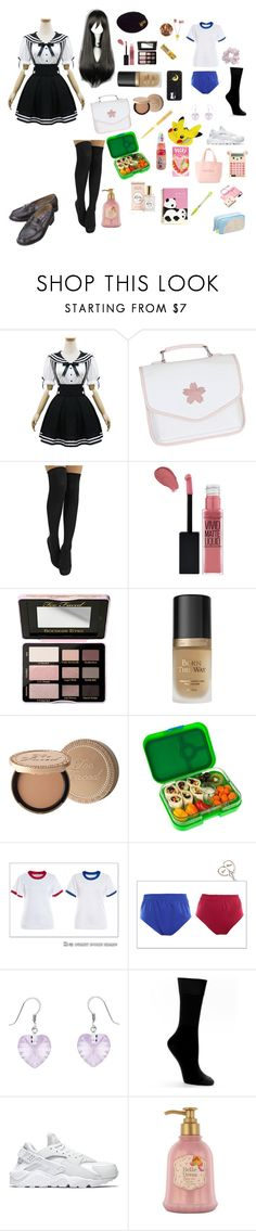 """stephanie as a anime character"" by princesspanty ❤ liked on Polyvore featuring Handle, Maybelline, Too Faced Cosmetics, Yumbox, Divine Silver, Hue, NIKE, Etude House and Sumikko"