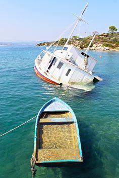 Sinking boats at Ormos Panagias, Sithonia, Halkidiki