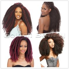 18inch Crochet Braids Afro Kinky Twist Hair Extensions Synthetic Braiding Hair Ombre 3pack/lot Crochet Braids Marley Hair, Curly Crochet Hair Styles, Crochet Hair Extensions, Ombre Hair Extensions, Afro Kinky Twists, Twist Hairstyles, Wigs, Beauty, Beauty Illustration