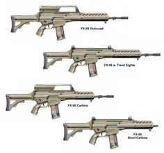 Mexican assault rifle Fx05 Xiuhcoatl in all it's versions.