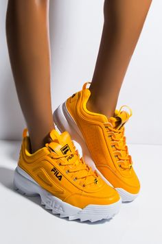 Side View Fila Womens Disruptor Ii Premium Sneaker In Gold Fusion in Yellow Dr Shoes, Cute Shoes, Me Too Shoes, Platform Shoes Heels, Shoes Heels Boots, Black Fila Shoes, Yellow Shoes Outfit, Fila Outfit, Wedge Sneakers