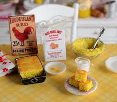 RESERVED-Miniature Making Cornbread Set by CuteinMiniature on Etsy