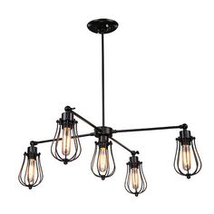 LNC Industrial Edison Vintage Style Black Metal Wire Cage  Hanging Pendant Light Shade