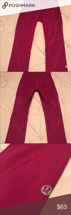 Lululemon Size 4 Leggings Excellent Condition!! Size 4. Magenta/Fushia/Pink Color. High Rise. Mesh. Zipper Pockets. Super Cute! No piling, rips, or discoloration. lululemon athletica Pants Leggings