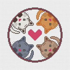4 cats - cross stitch pattern pdf. The pattern will fit nicely in a 8x8 frame (or 20 cm x 20 cm) or in a 8 (or 20 cm) embroidery hoop on 14 count fabric. ★★★ Pattern specifications ★★★ This listing is for the PDF pattern only! Just download, print and cross-stitch! ➔ Stitches used: full cross stitch, backstitch. ➔ DMC Colors: 10 pieces (№ 844, 961, 3865, 318, 976, 3827, 3862, 842, 317, 839). ➔ Design size in stitches: 88 x 88 ➔ Design size in inches and centimeters (approximately): 6.3 X…