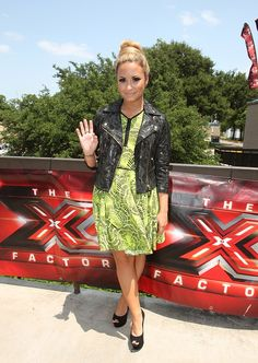 Austin, Texas | lime green Pacific Zip Front Dress, Metallic Snakeskin Leather Jacket & CJG Stud Black Peeptoe Court Shoes. Demi wore head-to-toe Topshop for the first day of filming.