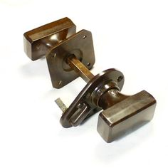 A good pair of Art Deco style oblong Bakelite door knobs. Complete with open/shut snib lever, can be removed if required. 4 pairs available at £28.00 each