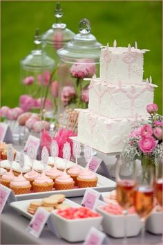 gorgeous wedding cake and dessert table
