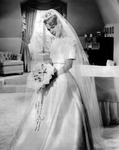 Sandra Dee in a Jean Louis wedding gown. From When a Man Answers