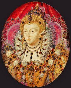 1595-1600 Queen Elizabeth I 1533-1603 Miniature att Nicholas Hilliard