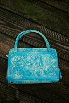 Gorgeous Washed Turquoise Genuine Leather Floer by LuckyHArt