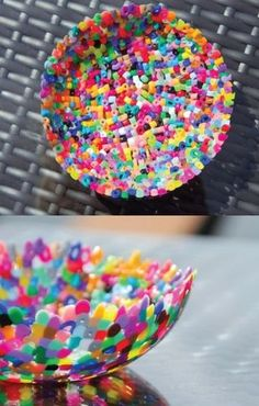 Plastic Perler Bead Bowls are a quick and easy kids' craft your children will love. They can use any fun color beads in any creative pattern they want and it's a perfect rainy day art project or DIY gift!