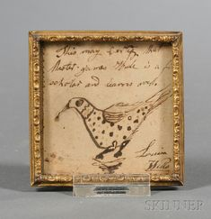 Small Framed Reward of Merit with Bird Motif, America, 19th century