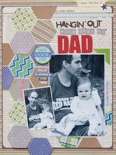 Hanging With Dad Layout by Becky Williams using Jillibean Soup's Macho Nacho Soup Collection, Rockin' Red Corrugated Alphas, and Braised Brown Alphabeans (via the Jillibean Soup blog).