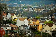 This is also near where my mom grew up. Squirrel Hill is awesome! It is 40 % Jewish, so very cool. It is in the Pittsburgh area, not far from Homestead. Pittsburgh Neighborhoods, Pittsburgh City, Places To Travel, Places To Go, Pittsburg Pa, Beautiful Buildings, Travel Usa, Squirrel, Paris Skyline