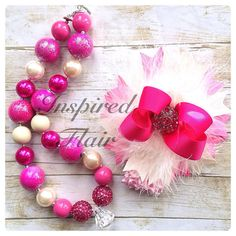 Haute Couture Hot Pink Over the Top Glitzy Glam Bow and Bubblegum Bead Necklace  on Etsy, $30.00