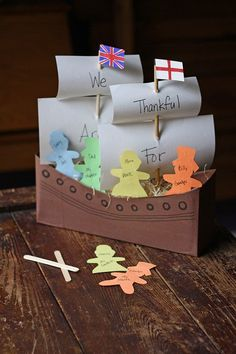 This nifty craft starts with a fun upcycled idea, throws in the chance to share what you're thankful for, and leaves you with an historical ship that can set sail on your holiday table.