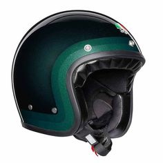 "AGV ""Trofeo Green"" with ECE. Retro open face helmet made in Italy. Agv Helmets, Motorcycle Helmets, Bicycle Helmet, Riding Helmets, Retro Helmet, Shell House, Open Face Helmets, Racing Motorcycles, Embossed Logo"
