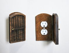 Great idea. A little pricey, but would add a unique touch to your rustic decor. Heck, got someone handy at woodwork at home? Wooden Rustic Decorative Hobbit Fairy Door by BrynandJeremiahs